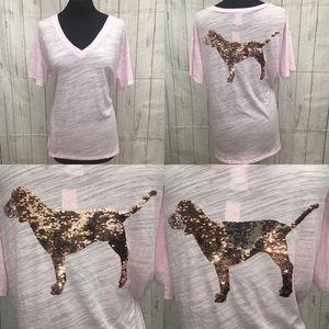 PINK Flip Sequins Bling Dog V Neck Tee NWT